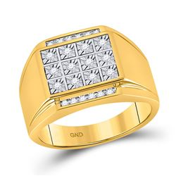 1/4 CTW Mens Round Diamond Square Cluster Ring 10kt Yellow Gold - REF-49H6R