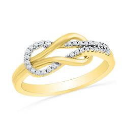1/6 CTW Womens Round Diamond Double Lasso Infinity Ring 10kt Yellow Gold - REF-19R6X