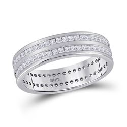 1 CTW Womens Round Diamond Eternity Wedding Band Ring 14kt White Gold - REF-109H2R