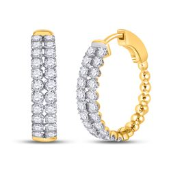 2 CTW Womens Round Diamond Double Row Hoop Earrings 14kt Yellow Gold - REF-136N4A