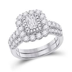 1 & 7/8 CTW Emerald Diamond Bridal Wedding Ring 14kt White Gold - REF-272M6F
