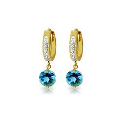 Genuine 3.28 ctw Blue Topaz & Diamond Earrings 14KT Yellow Gold - REF-55N3R