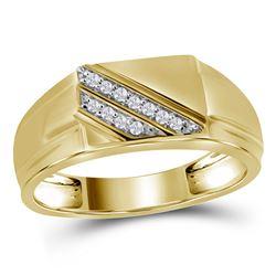 1/12 CTW Mens Round Diamond Diagonal Row Flat Top Fashion Ring 10kt Yellow Gold - REF-29N4A