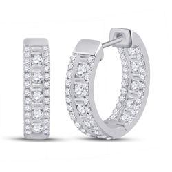 1 CTW Womens Round Diamond Hoop Earrings 14kt White Gold - REF-88W5H