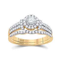 5/8 CTW Round Diamond Halo Bridal Wedding Ring 14kt Yellow Gold - REF-65T4V