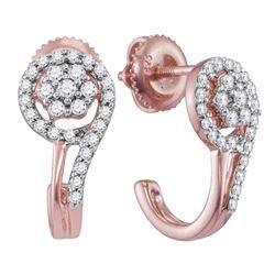 1/3 CTW Womens Round Diamond J Hoop Earrings 10kt Rose Gold - REF-30N5A