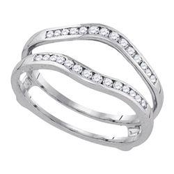 1/2 CTW Womens Round Diamond Bridal Wedding Enhancer Band Ring 14k White Gold - REF-64T8V