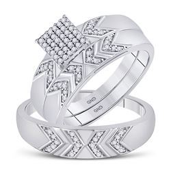 1/4 CTW His Hers Round Diamond Square Matching Wedding Set 10kt White Gold - REF-40N8A