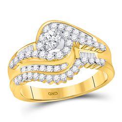 3/4 CTW Round Diamond Bridal Wedding Ring 10kt Yellow Gold - REF-75H7R