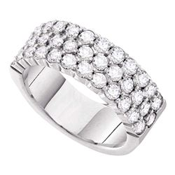 3 CTW Womens Round Diamond Triple Row Pave Band Ring 14kt White Gold - REF-361X3T