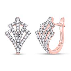 1/2 CTW Womens Round Diamond Hoop Earrings 14kt Rose Gold - REF-58H5R