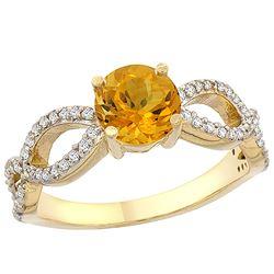 1 CTW Citrine & Diamond Ring 10K Yellow Gold - REF-49N6Y