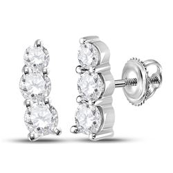 1 CTW Womens Round Diamond Fashion 3-stone Earrings 14kt White Gold - REF-136R4X