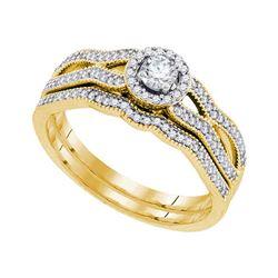 3/8 CTW Round Diamond Milgrain Bridal Wedding Ring 10kt Yellow Gold - REF-51A2M