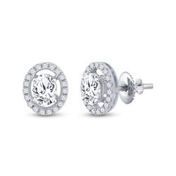 1 & 1/4 CTW Womens Oval Diamond Solitaire Stud Earrings 14kt White Gold - REF-293X3T
