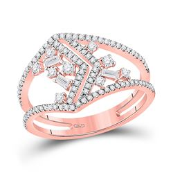3/8 CTW Womens Baguette Diamond Scattered Negative Space Band Ring 14kt Rose Gold - REF-47H3R