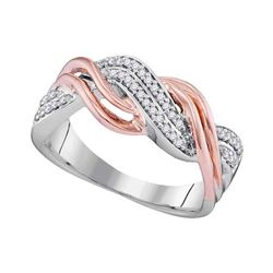 1/6 CTW Womens Round Diamond Twist Crossover Band Ring 10kt Two-tone Gold - REF-23N9A