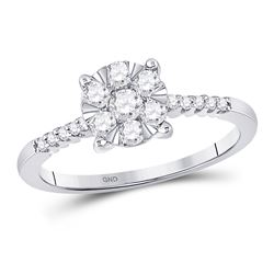1/2 CTW Womens Round Diamond Flower Cluster Ring 10kt White Gold - REF-42R8X