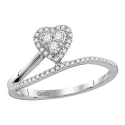 1/5 CTW Womens Round Diamond Slender Heart Band Ring 10kt White Gold - REF-21N2A