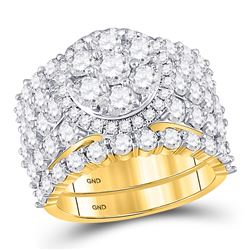 5 CTW Round Diamond Cluster Bridal Wedding Ring 14kt Yellow Gold - REF-436F3W