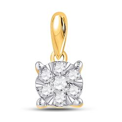 1/4 CTW Womens Round Diamond Flower Cluster Pendant 14kt Yellow Gold - REF-20N5A