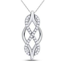 1/12 CTW Womens Round Diamond Vertical Infinity Pendant 10kt White Gold - REF-10H9R