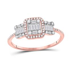 3/8 CTW Womens Baguette Diamond Triple Cluster Ring 14kt Rose Gold - REF-44Y5N