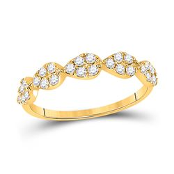 1/3 CTW Womens Round Diamond Teardrop Stackable Band Ring 10kt Yellow Gold - REF-29X4T