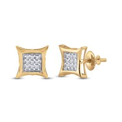 1/8 CTW Womens Round Diamond Kite Square Earrings 10kt Yellow Gold - REF-10V9Y