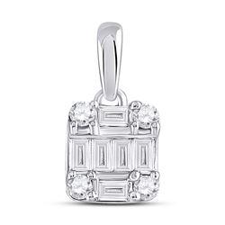1/3 CTW Womens Baguette Diamond Fashion Cluster Pendant 14kt White Gold - REF-36V7Y