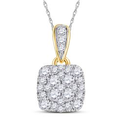 1/2 CTW Womens Round Diamond Square Pendant 14kt Yellow Gold - REF-39N5A