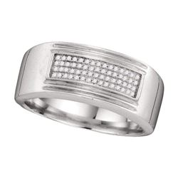 1/6 CTW Mens Diamond Rectangle Cluster Wedding Band Ring 10k White Gold - REF-60T2V