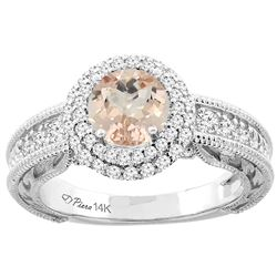 1.15 CTW Morganite & Diamond Ring 14K White Gold - REF-89M5K