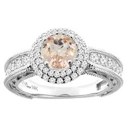 1.20 CTW Morganite & Diamond Ring 14K White Gold - REF-94N6Y