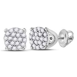 1/8 CTW Womens Round Diamond Cluster Earrings 10kt White Gold - REF-12Y2N