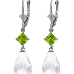 Genuine 11 ctw White Topaz & Peridot Earrings 14KT White Gold - REF-39R3P