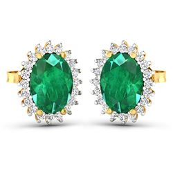 Natural 2.46 CTW Zambian Emerald & Diamond Earrings 14K Yellow Gold - REF-49N3R