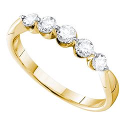 1/2 CTW Womens Round Diamond 5-stone Fashion Band Ring 14kt Yellow Gold - REF-56V6Y