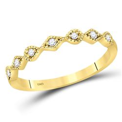 1/10 CTW Womens Round Diamond Stackable Band Ring 14kt Yellow Gold - REF-17F6W