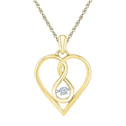 1/20 CTW Womens Round Moving Diamond Heart Pendant 10kt Yellow Gold - REF-16T4V