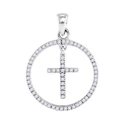 1/4 CTW Womens Round Diamond Circle Cross Pendant 10kt White Gold - REF-16F4W