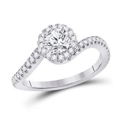 1 CTW Round Diamond Halo Bridal Wedding Engagement Ring 14kt White Gold - REF-231F7W
