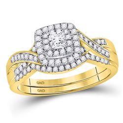 1/2 CTW Princess Diamond Bridal Wedding Ring 14kt Yellow Gold - REF-78H3R