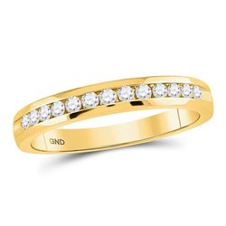 1/4 CTW Womens Round Diamond Single Row Comfort Wedding Band Ring 14kt Yellow Gold - REF-36X7T