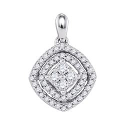 1/2 CTW Womens Round Diamond Offset Square Fashion Pendant 10kt White Gold - REF-31Y4N