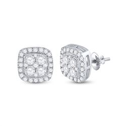 3/4 CTW Womens Round Diamond Square Earrings 14kt White Gold - REF-61W4H