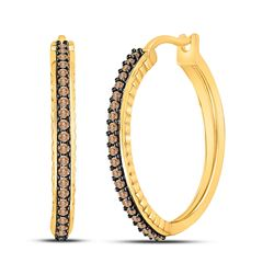1/2 CTW Womens Round Brown Diamond Single Row Hoop Earrings 10kt Yellow Gold - REF-40T8V