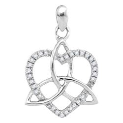 1/10 CTW Womens Round Diamond Triquetra Heart Pendant 10kt White Gold - REF-9A5M