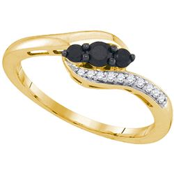 1/4 CTW Womens Round Black Color Enhanced Diamond 3-stone Ring 10kt Yellow Gold - REF-16X4T