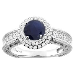 1.55 CTW Blue Sapphire & Diamond Ring 14K White Gold - REF-155K3W